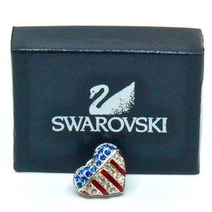 SWAROVSKI~flag heart #151127~PIN / IN BOX w/TAG